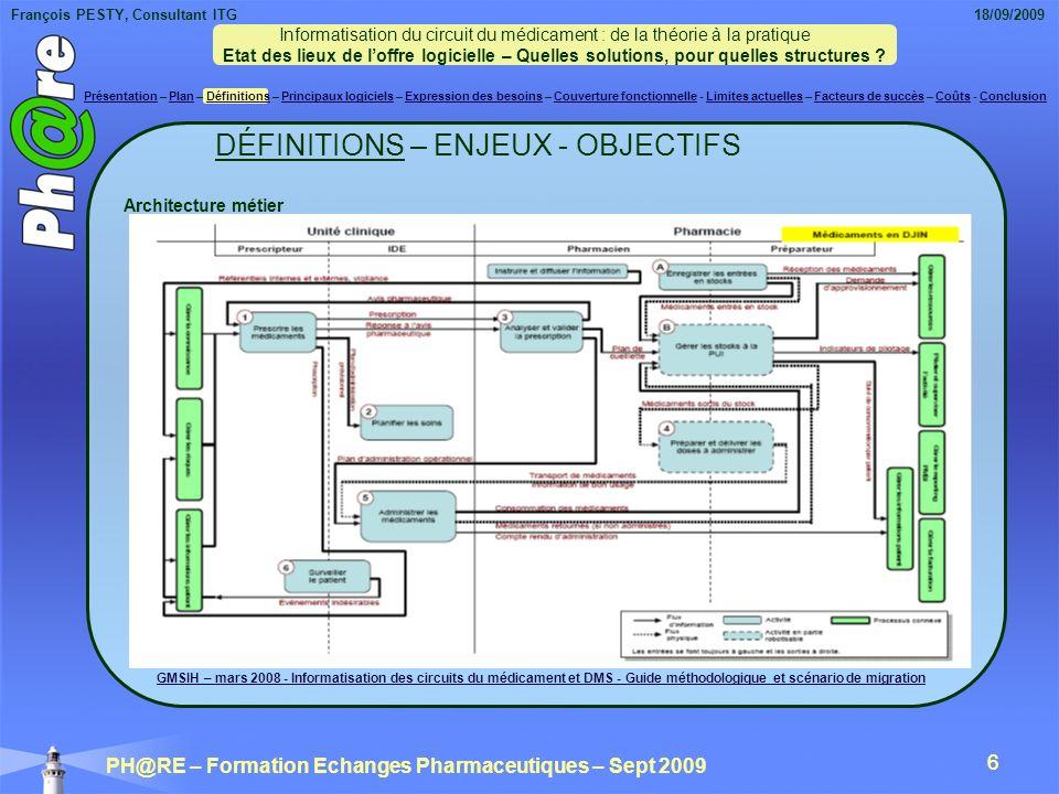 François PESTY, Consultant ITG 18/09/2009 PH@RE – Formation Echanges Pharmaceutiques – Sept 2009 17 Rien ne remplace bien entendu les retours dexpérience des utilisateurs, les essais in situ dans des services pilotes de vos établissements.