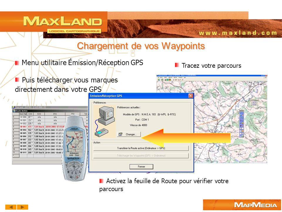 Chargement de vos Waypoints Menu utilitaire Émission/Réception GPS Tracez votre parcours Activez la feuille de Route pour vérifier votre parcours Puis
