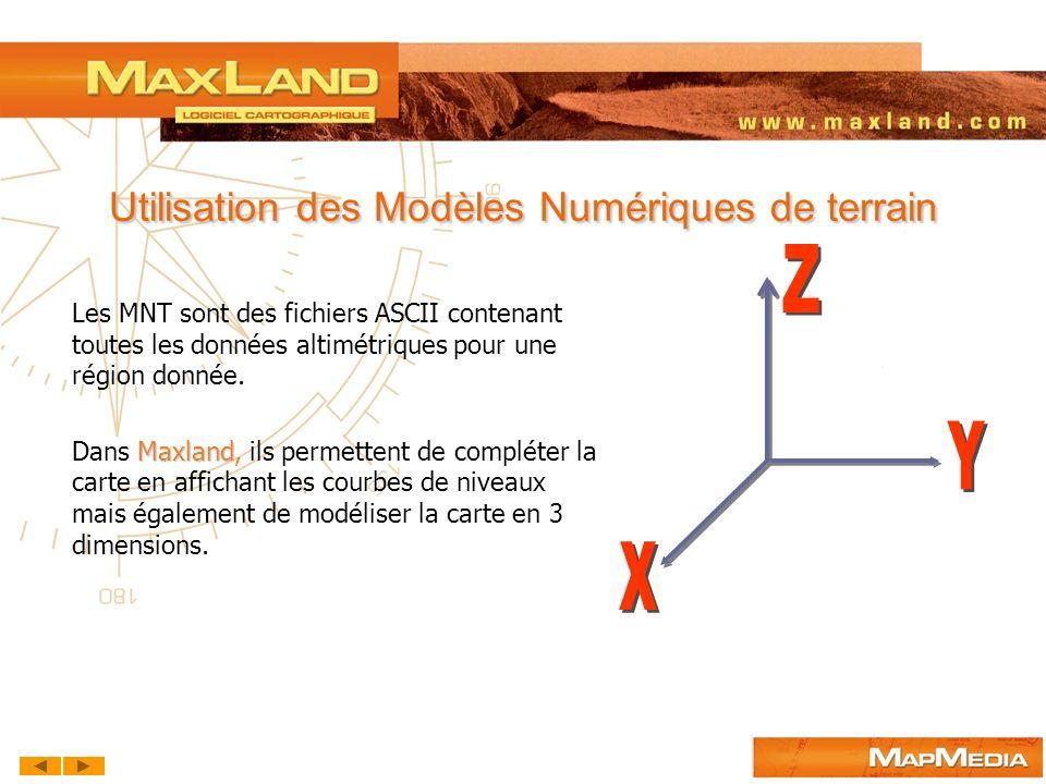 Utilisation des Modèles Numériques de terrain Les MNT sont des fichiers ASCII contenant toutes les données altimétriques pour une région donnée. Maxla