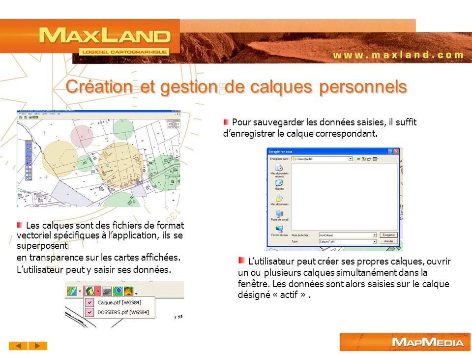 Outils de dessin : Points, lignes, surfaces, cercles, texte MaxLand Pour la représentation de vos données, MaxLand met à disposition différents types dobjets que vous pouvez personnaliser.