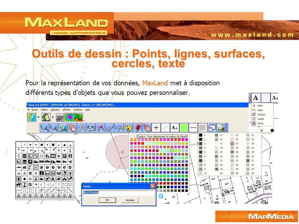 Outils de dessin : Points, lignes, surfaces, cercles, texte MaxLand Pour la représentation de vos données, MaxLand met à disposition différents types