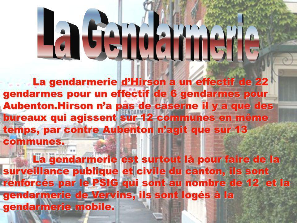 La gendarmerie dHirson a un effectif de 22 gendarmes pour un effectif de 6 gendarmes pour Aubenton.Hirson na pas de caserne il y a que des bureaux qui