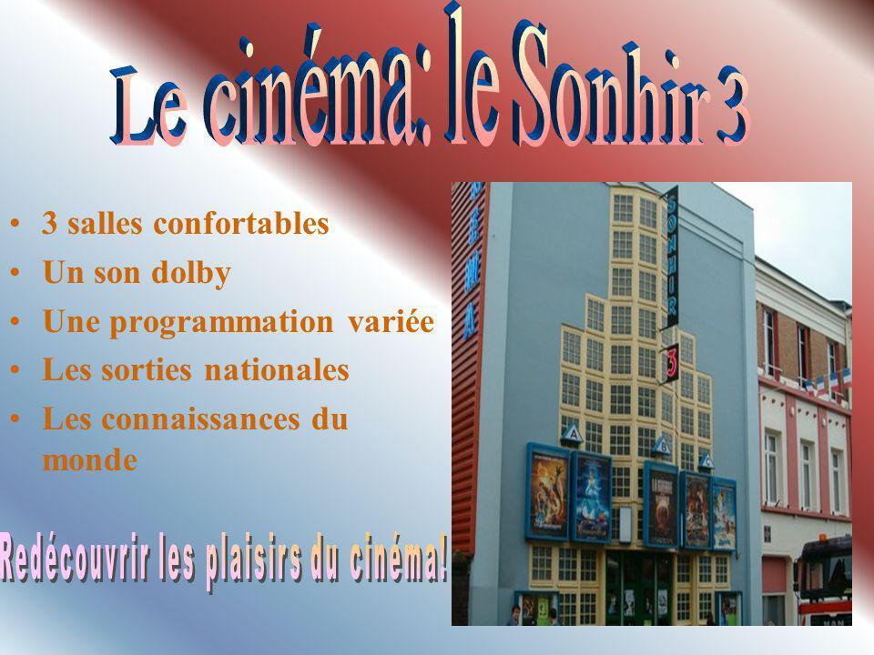 3 salles confortables Un son dolby Une programmation variée Les sorties nationales Les connaissances du monde