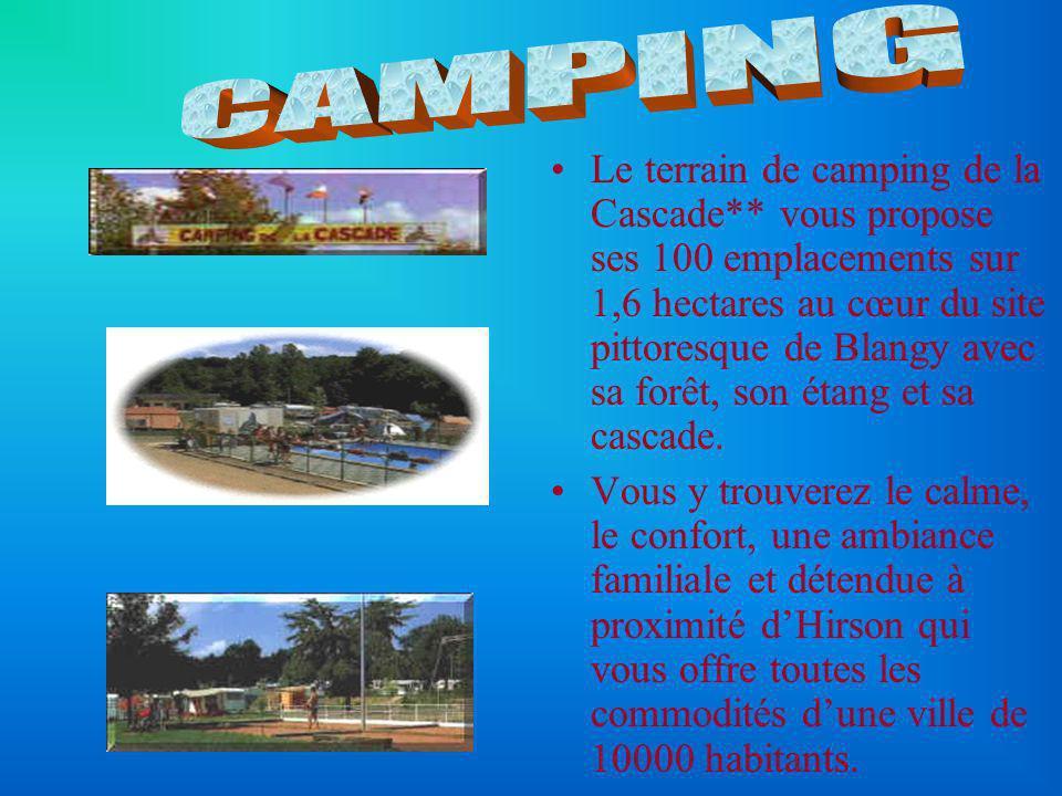 Le terrain de camping de la Cascade** vous propose ses 100 emplacements sur 1,6 hectares au cœur du site pittoresque de Blangy avec sa forêt, son étan