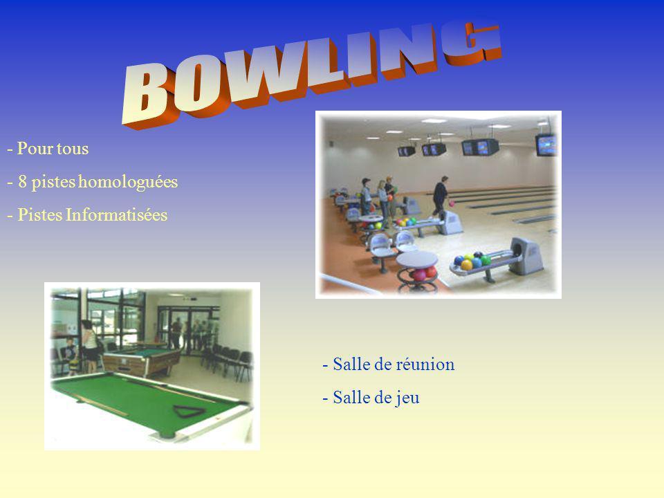 - Pour tous - 8 pistes homologuées - Pistes Informatisées - Salle de réunion - Salle de jeu