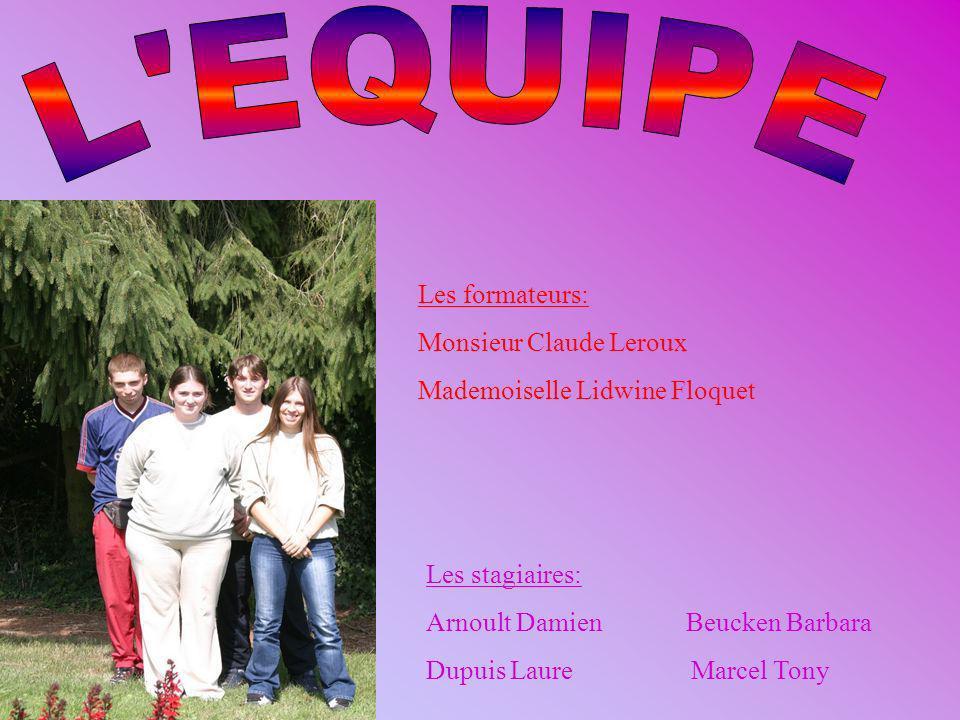 Les stagiaires: Arnoult Damien Beucken Barbara Dupuis Laure Marcel Tony Les formateurs: Monsieur Claude Leroux Mademoiselle Lidwine Floquet