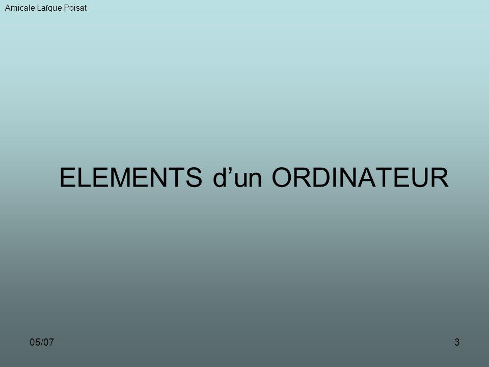 05/073 ELEMENTS dun ORDINATEUR Amicale Laïque Poisat