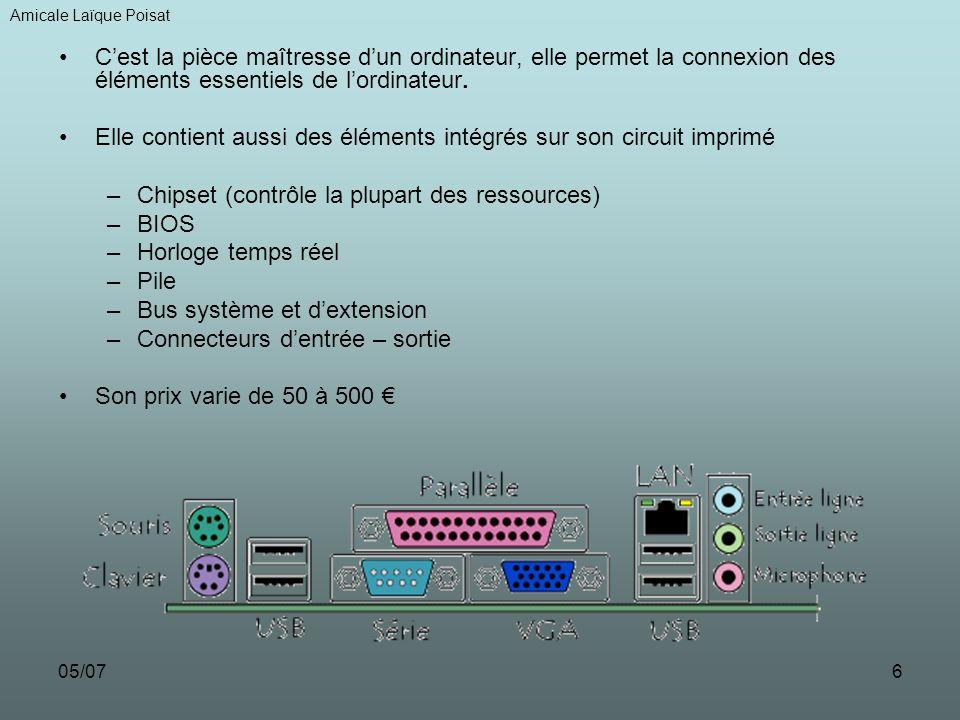 05/077 LE PROCESSEUR : –Cest un circuit électronique qui interprète et traite les données codées sous forme binaire –Les 2 principaux constructeurs sont INTEL et AMD –Son unité est la fréquence qui se mesure en Giga Hertz –Son prix varie de 60 à 1500 LA CARTE GRAPHIQUE : Elle a pour objet de produire une image affichable sur un écran dordinateur Elle peut avoir ou pas sa propre mémoire de travail Les types de connecteurs suivants sont possibles : –VGA pour les écrans cathodiques –DVI pour les écrans plats non analogiques –HDMI pour les écrans haute définition –S-VIDEO pour les liaisons avec la télévision Son prix varie de 60 à 1000 Amicale Laïque Poisat VGADVI S-VIDEO