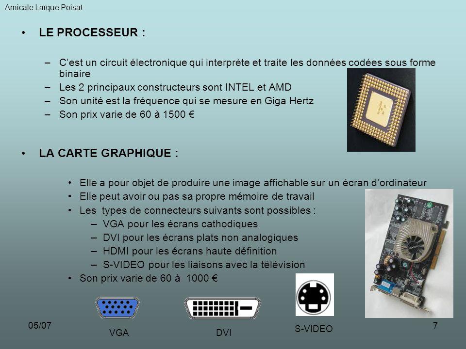 05/077 LE PROCESSEUR : –Cest un circuit électronique qui interprète et traite les données codées sous forme binaire –Les 2 principaux constructeurs so