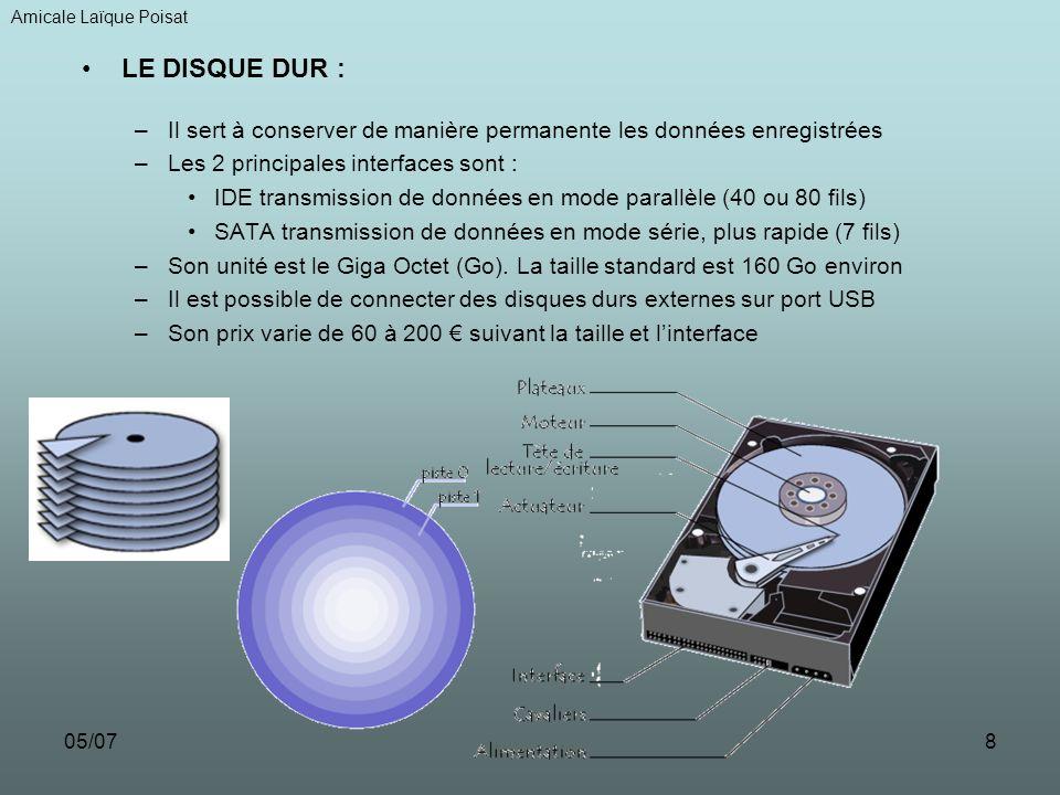 05/078 LE DISQUE DUR : –Il sert à conserver de manière permanente les données enregistrées –Les 2 principales interfaces sont : IDE transmission de do