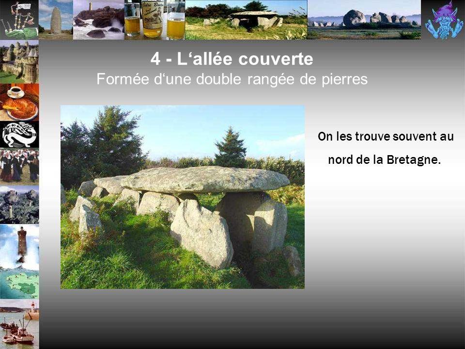 4 - Lalignement (menhirs placés en file) On les considère comme des restes de monuments religieux.