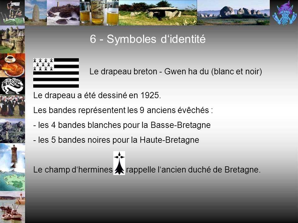 5 - La langue bretonne (ar brezhoneg) Le Breton est une langue celtique Aujourdhui 270.000 personnes parlent le breton au quotidien La carte montre la