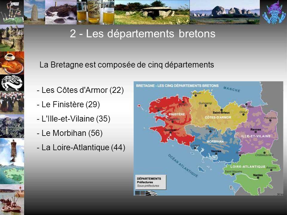 - Les Côtes d Armor (22) - Le Finistère (29) - L Ille-et-Vilaine (35) - Le Morbihan (56) - La Loire-Atlantique (44) 2 - Les départements bretons La Bretagne est composée de cinq départements