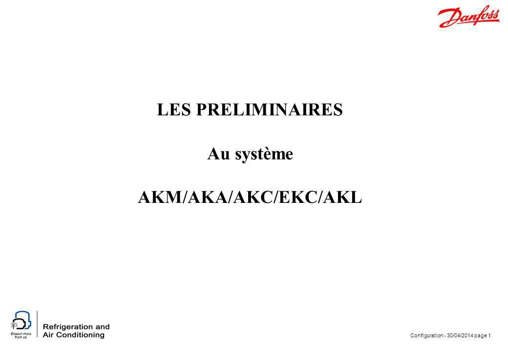 Expect more from us Configuration - 30/04/2014 page 1 LES PRELIMINAIRES Au système AKM/AKA/AKC/EKC/AKL