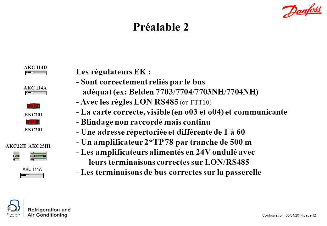 Expect more from us Configuration - 30/04/2014 page 12 Préalable 2 EKC201 AKC 114A AKC 114D AKL 111A AKC25H1AKC22H Les régulateurs EK : - Sont correct
