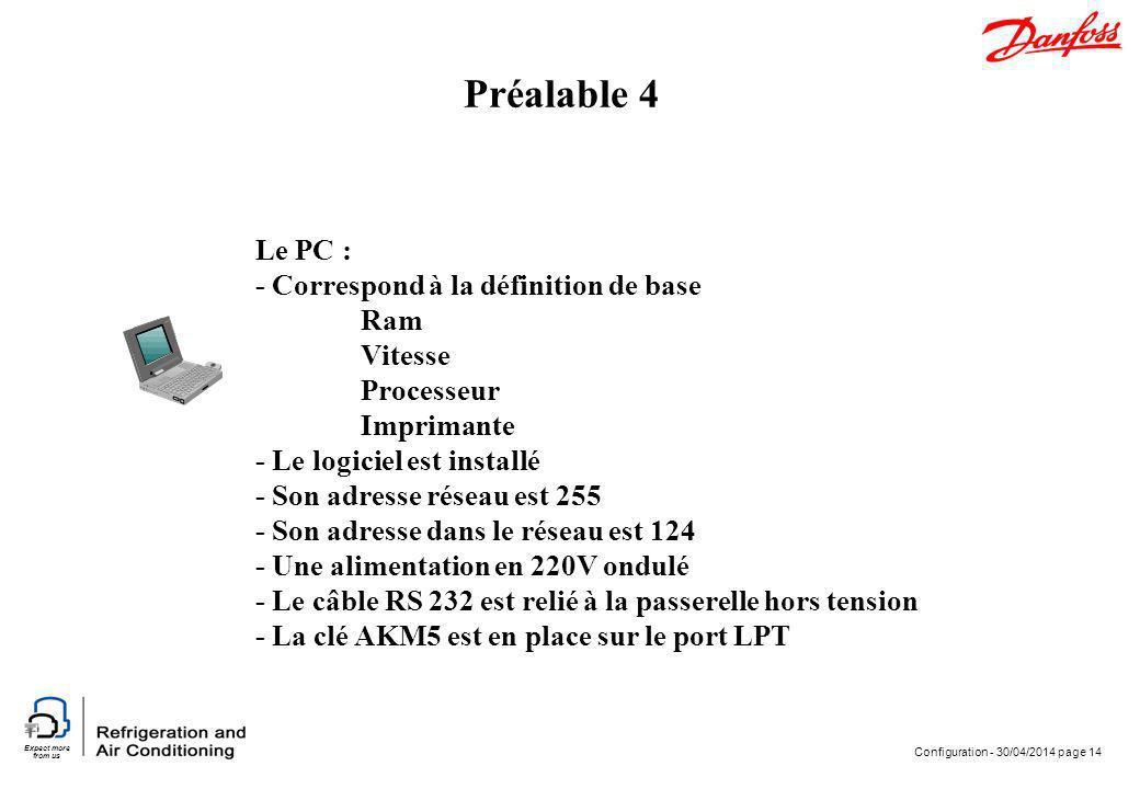 Expect more from us Configuration - 30/04/2014 page 14 Le PC : - Correspond à la définition de base Ram Vitesse Processeur Imprimante - Le logiciel es