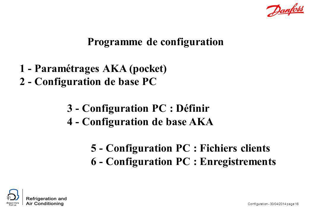 Expect more from us Configuration - 30/04/2014 page 16 Programme de configuration 1 - Paramétrages AKA (pocket) 2 - Configuration de base PC 3 - Confi