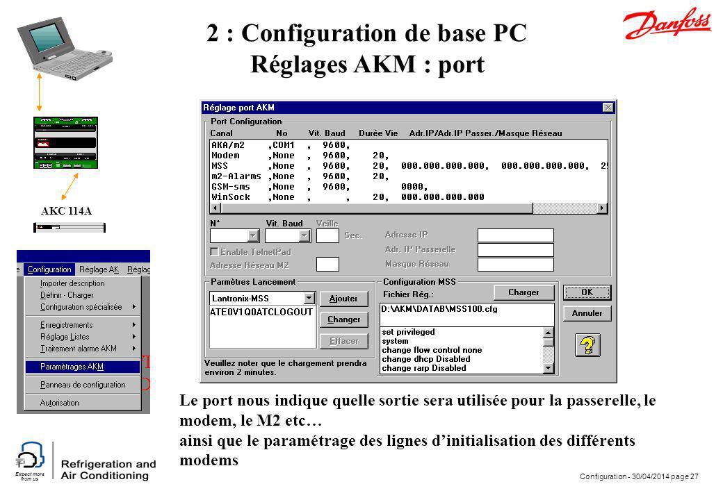Expect more from us Configuration - 30/04/2014 page 27 AKC 114A 2 : Configuration de base PC Réglages AKM : port Le port nous indique quelle sortie se