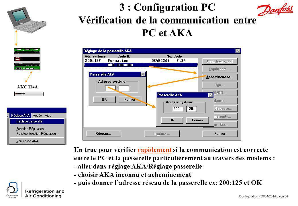 Expect more from us Configuration - 30/04/2014 page 34 AKC 114A 3 : Configuration PC Vérification de la communication entre PC et AKA Un truc pour vér