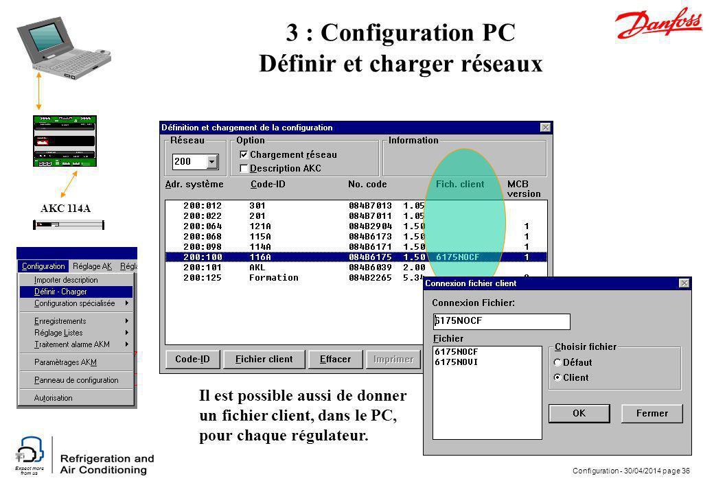 Expect more from us Configuration - 30/04/2014 page 36 AKC 114A 3 : Configuration PC Définir et charger réseaux Il est possible aussi de donner un fic
