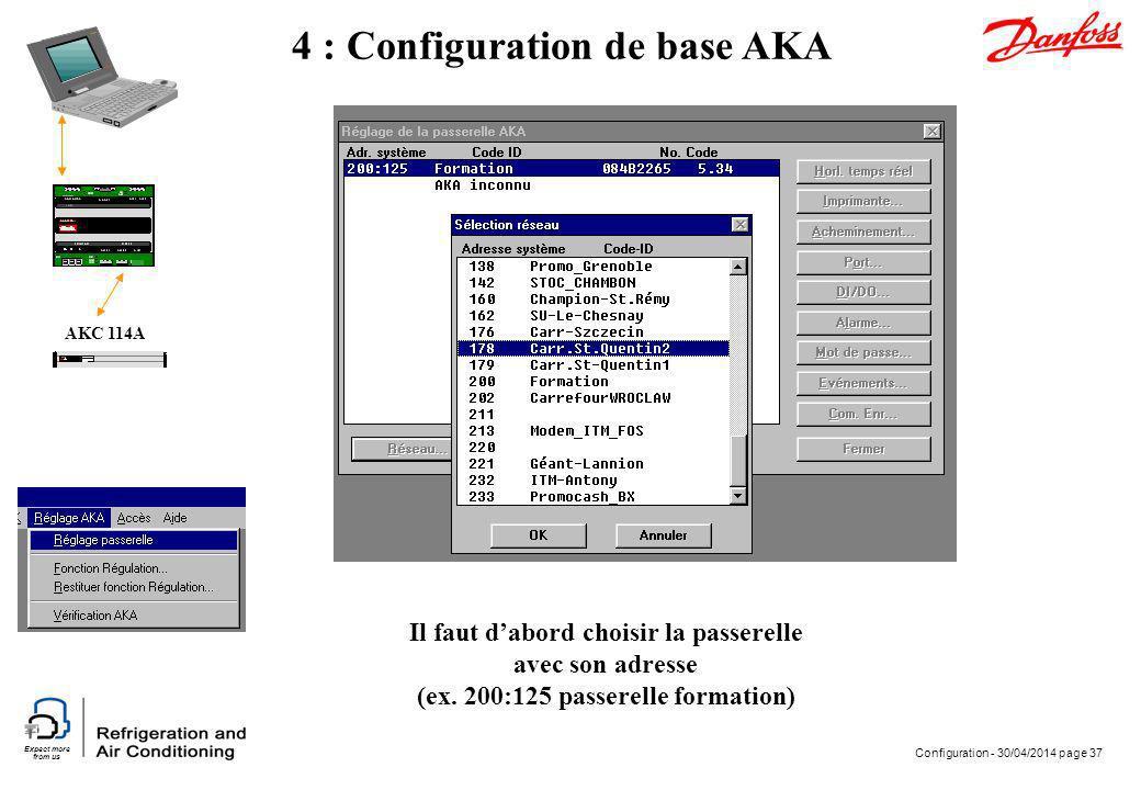 Expect more from us Configuration - 30/04/2014 page 37 AKC 114A 4 : Configuration de base AKA Il faut dabord choisir la passerelle avec son adresse (e