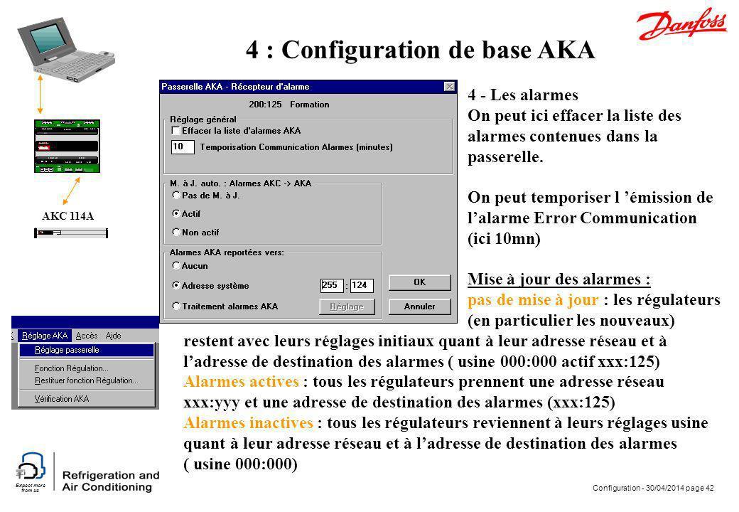 Expect more from us Configuration - 30/04/2014 page 42 AKC 114A 4 : Configuration de base AKA 4 - Les alarmes On peut ici effacer la liste des alarmes