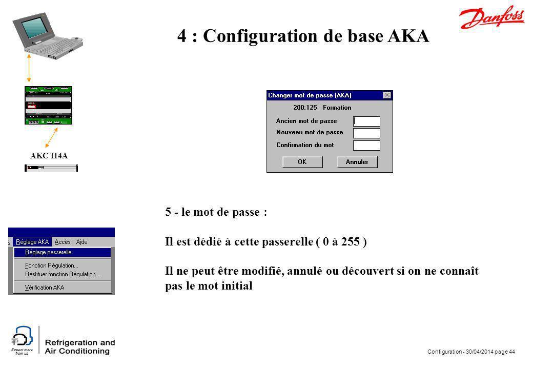 Expect more from us Configuration - 30/04/2014 page 44 AKC 114A 4 : Configuration de base AKA 5 - le mot de passe : Il est dédié à cette passerelle (