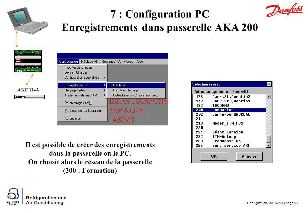 Expect more from us Configuration - 30/04/2014 page 56 AKC 114A 7 : Configuration PC Enregistrements dans passerelle AKA 200 Il est possible de créer
