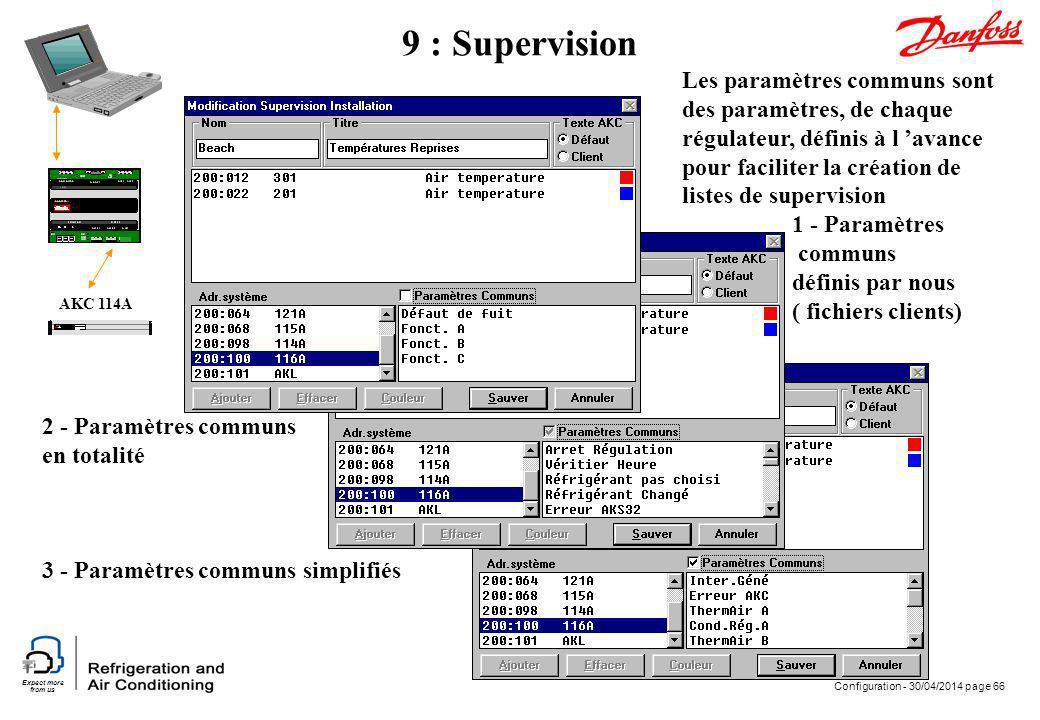 Expect more from us Configuration - 30/04/2014 page 66 AKC 114A 9 : Supervision Les paramètres communs sont des paramètres, de chaque régulateur, défi