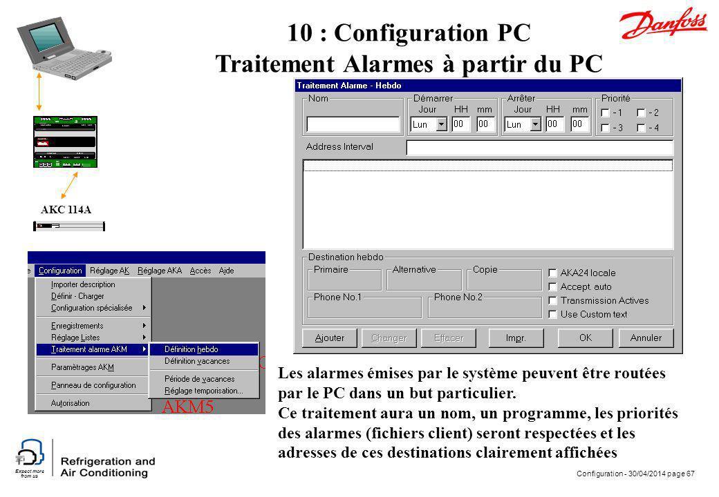 Expect more from us Configuration - 30/04/2014 page 67 AKC 114A 10 : Configuration PC Traitement Alarmes à partir du PC Les alarmes émises par le syst