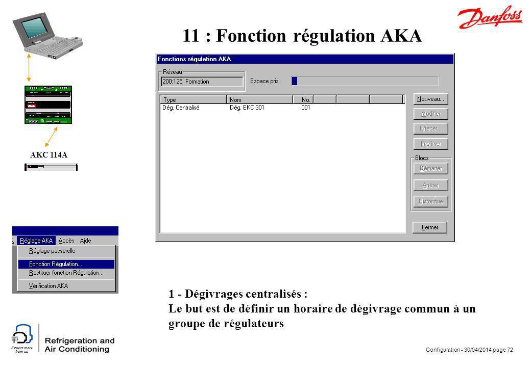Expect more from us Configuration - 30/04/2014 page 72 AKC 114A 11 : Fonction régulation AKA 1 - Dégivrages centralisés : Le but est de définir un hor