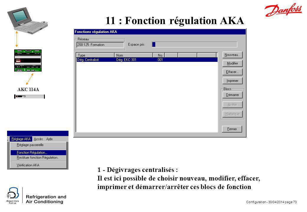 Expect more from us Configuration - 30/04/2014 page 73 AKC 114A 1 - Dégivrages centralisés : Il est ici possible de choisir nouveau, modifier, effacer