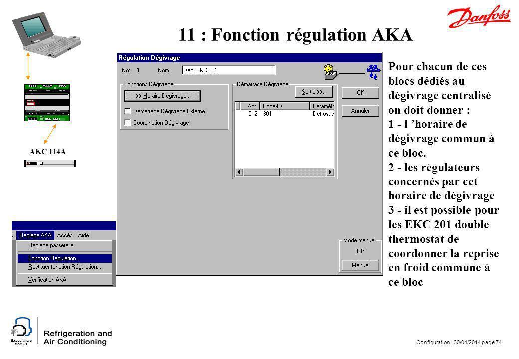 Expect more from us Configuration - 30/04/2014 page 74 AKC 114A Pour chacun de ces blocs dédiés au dégivrage centralisé on doit donner : 1 - l horaire