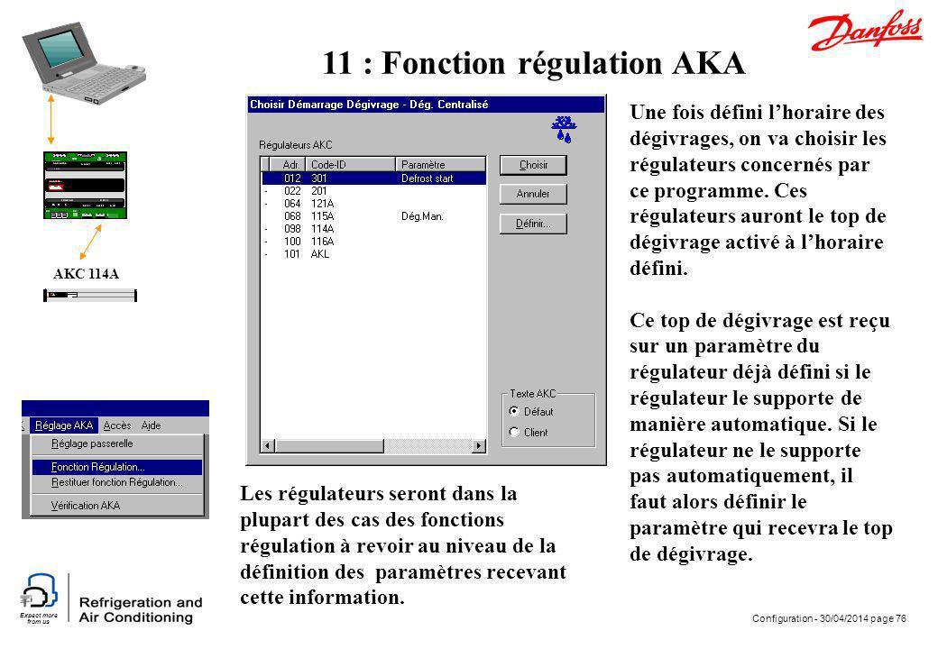 Expect more from us Configuration - 30/04/2014 page 76 AKC 114A Une fois défini lhoraire des dégivrages, on va choisir les régulateurs concernés par c