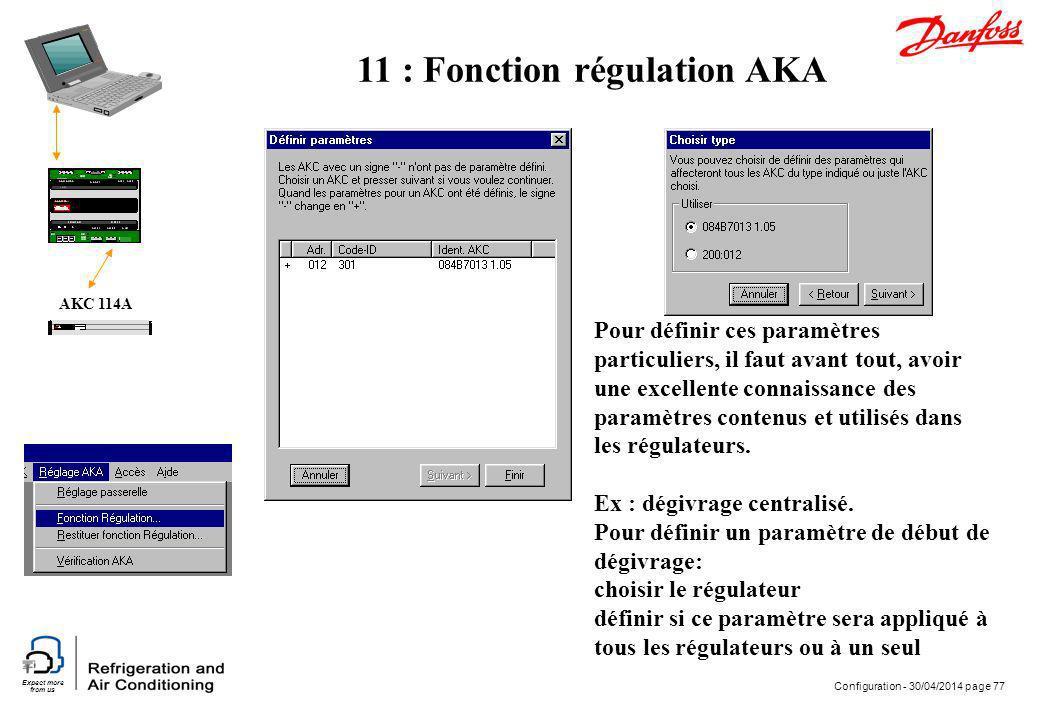 Expect more from us Configuration - 30/04/2014 page 77 AKC 114A Pour définir ces paramètres particuliers, il faut avant tout, avoir une excellente con