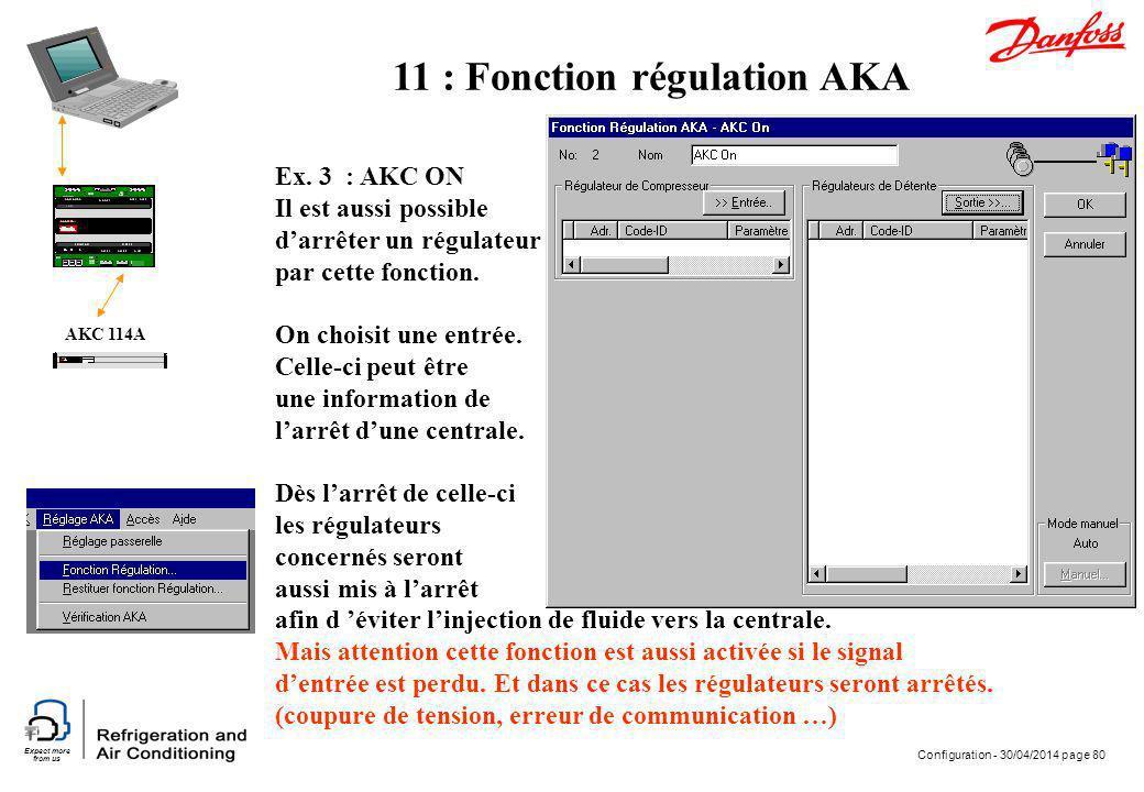 Expect more from us Configuration - 30/04/2014 page 80 AKC 114A Ex. 3 : AKC ON Il est aussi possible darrêter un régulateur par cette fonction. On cho