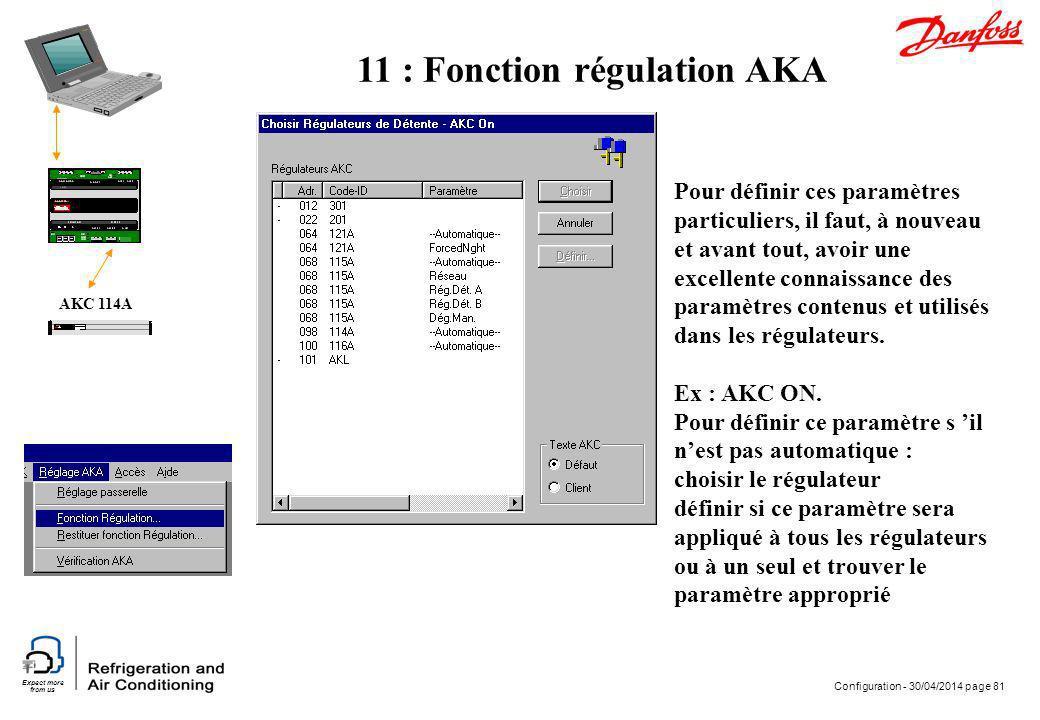 Expect more from us Configuration - 30/04/2014 page 81 AKC 114A Pour définir ces paramètres particuliers, il faut, à nouveau et avant tout, avoir une