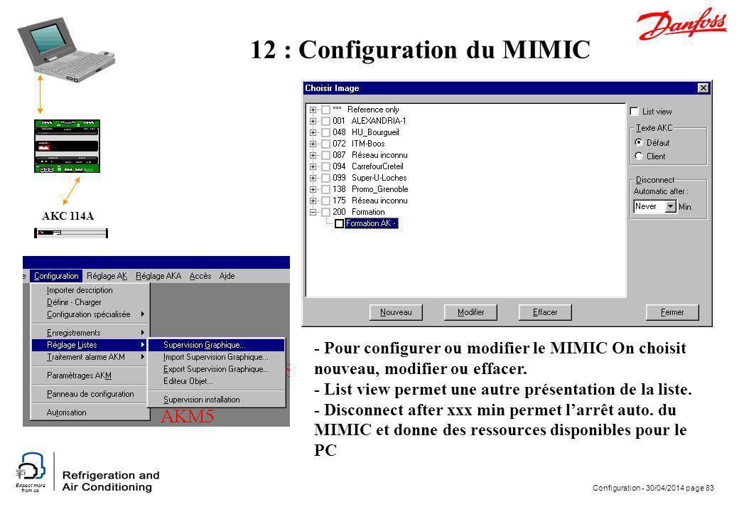 Expect more from us Configuration - 30/04/2014 page 83 AKC 114A 12 : Configuration du MIMIC - Pour configurer ou modifier le MIMIC On choisit nouveau,