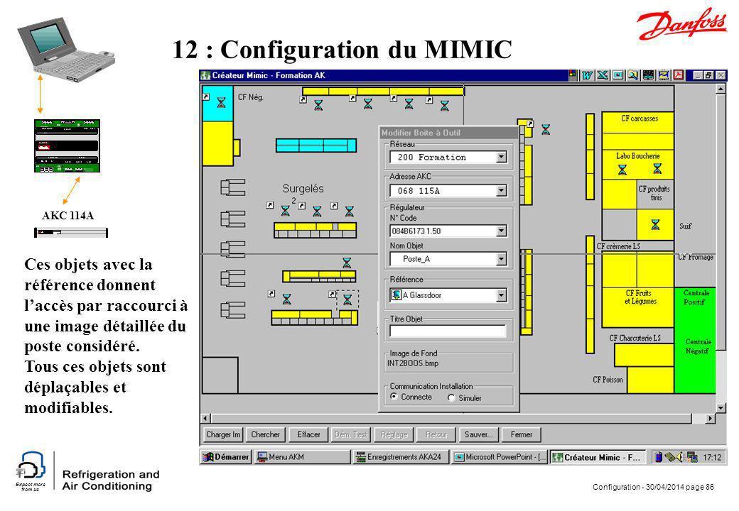 Expect more from us Configuration - 30/04/2014 page 86 AKC 114A 12 : Configuration du MIMIC Ces objets avec la référence donnent laccès par raccourci