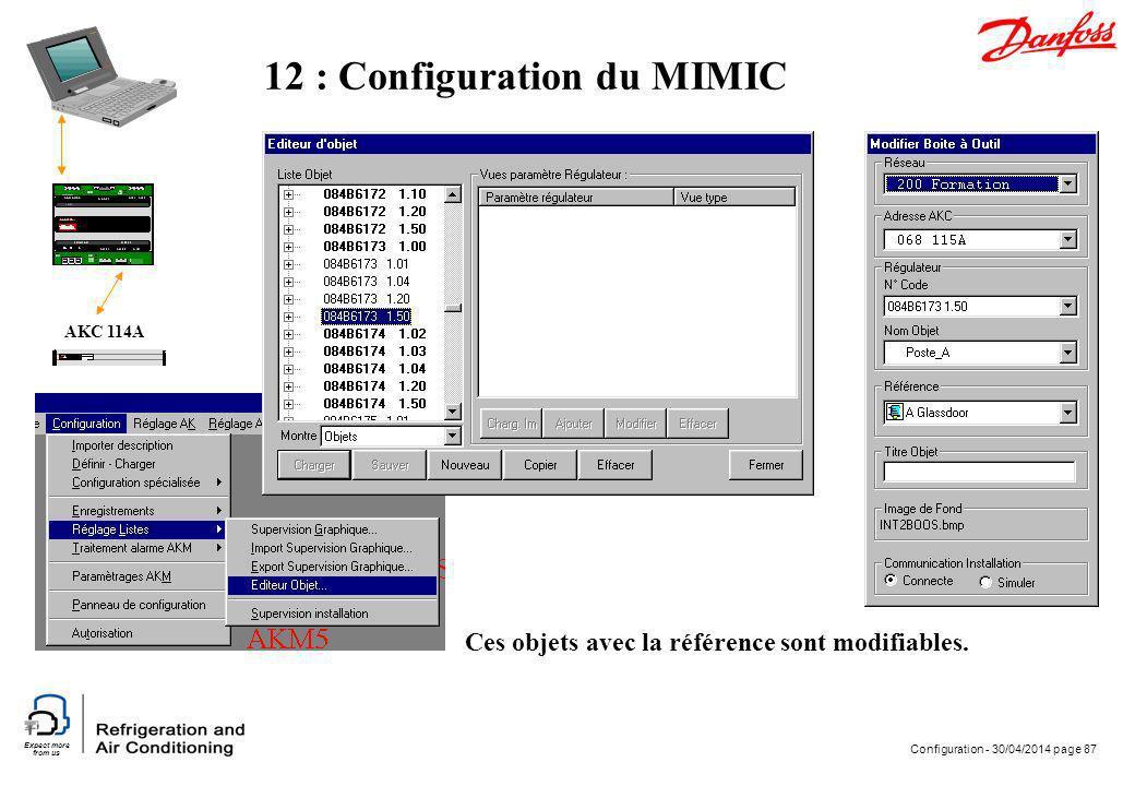 Expect more from us Configuration - 30/04/2014 page 87 AKC 114A 12 : Configuration du MIMIC Ces objets avec la référence sont modifiables.