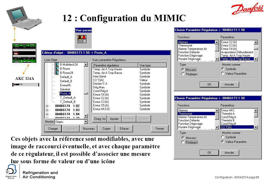 Expect more from us Configuration - 30/04/2014 page 88 AKC 114A 12 : Configuration du MIMIC Ces objets avec la référence sont modifiables, avec une im