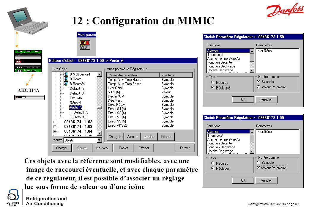 Expect more from us Configuration - 30/04/2014 page 89 AKC 114A 12 : Configuration du MIMIC Ces objets avec la référence sont modifiables, avec une im