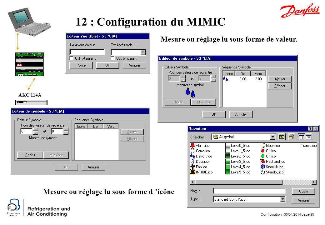 Expect more from us Configuration - 30/04/2014 page 90 AKC 114A 12 : Configuration du MIMIC Mesure ou réglage lu sous forme de valeur. Mesure ou régla