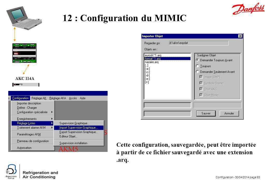 Expect more from us Configuration - 30/04/2014 page 93 AKC 114A 12 : Configuration du MIMIC Cette configuration, sauvegardée, peut être importée à par