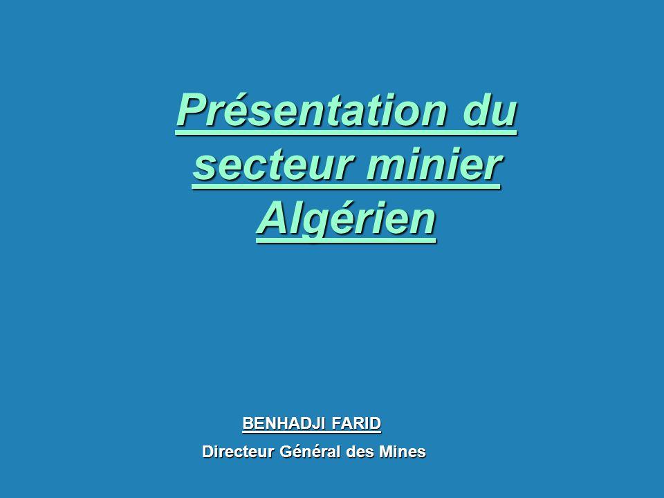 Présentation du secteur minier Algérien BENHADJI FARID Directeur Général des Mines Directeur Général des Mines