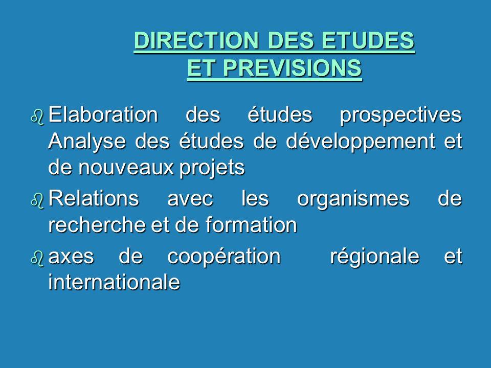 DIRECTION DES ETUDES ET PREVISIONS b Elaboration des études prospectives Analyse des études de développement et de nouveaux projets b Relations avec l