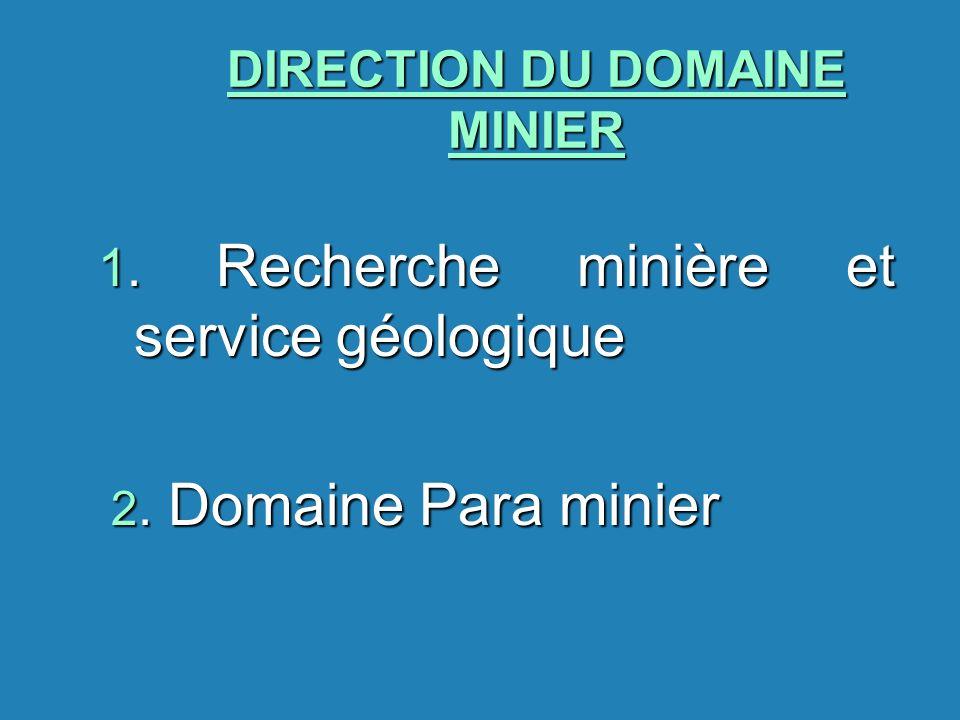 DIRECTION DU DOMAINE MINIER 1. Recherche minière et service géologique 2. Domaine Para minier 2. Domaine Para minier