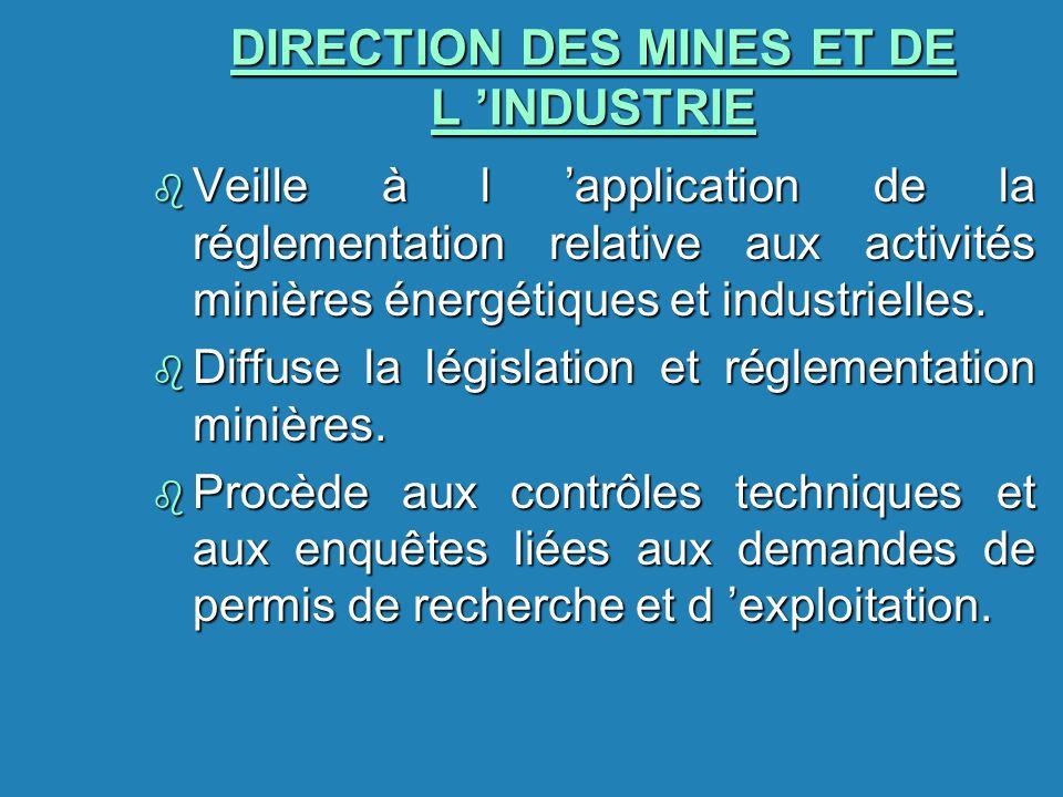 DIRECTION DES MINES ET DE L INDUSTRIE b Veille à l application de la réglementation relative aux activités minières énergétiques et industrielles. b D
