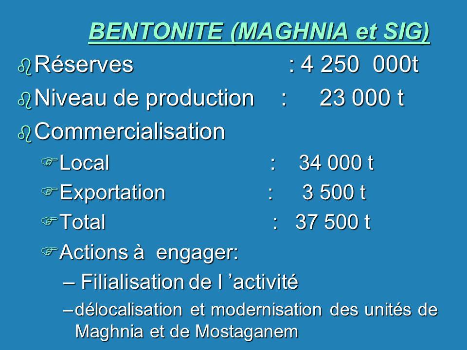BENTONITE (MAGHNIA et SIG) b Réserves : 4 250 000t b Niveau de production : 23 000 t b Commercialisation FLocal : 34 000 t FExportation : 3 500 t FTot