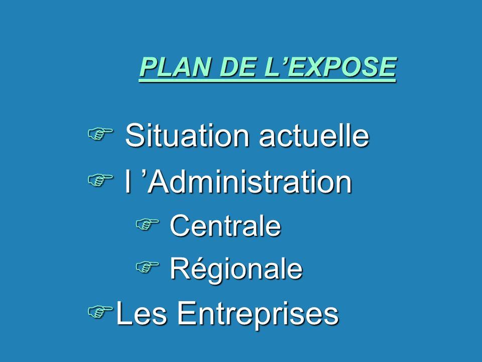 PLAN DE LEXPOSE F Situation actuelle F l Administration F Centrale F Régionale FLes Entreprises